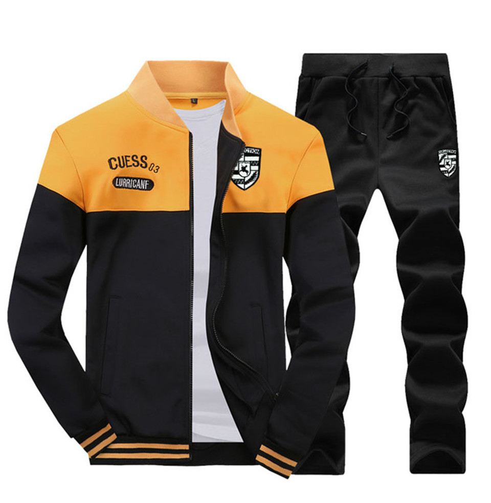 Riinr Brand New Men Sets Fashion Autumn Spring Sporting Suit Sweatshirt +Sweatpants Mens Clothing 2 Pieces Sets Slim Tracksuit 8