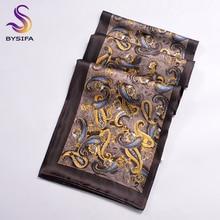 [BYSIFA] Зимние кофейные мужские длинные шарфы с принтом дизайн чистый шелк шарф осень зима Топ класс шелковые шарфы для шеи