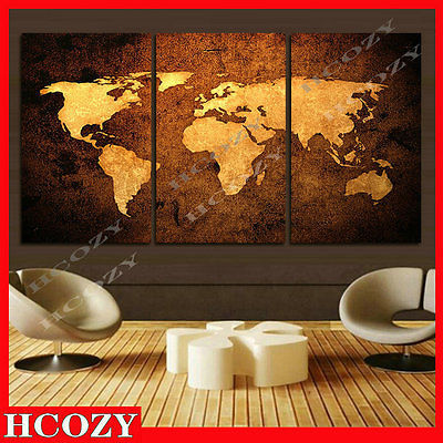 3D Canvas Oil Painting World Map Wall Sticker Decal Vinyl Wall