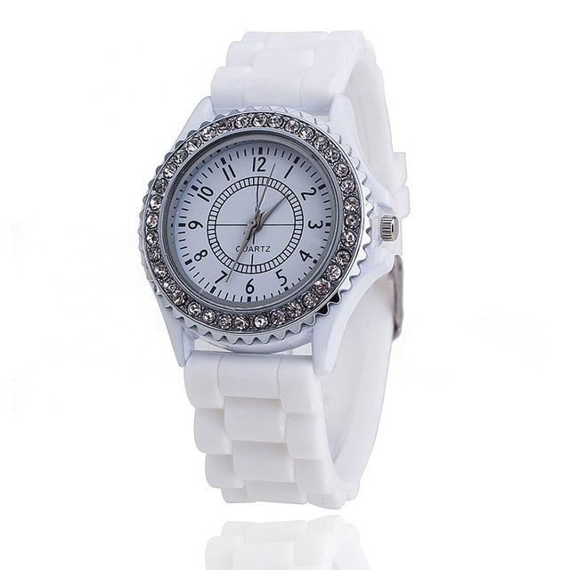 Vansvar Brand Silicone Watch Women Rhinestone Watches Fashion Casual Quartz Watc