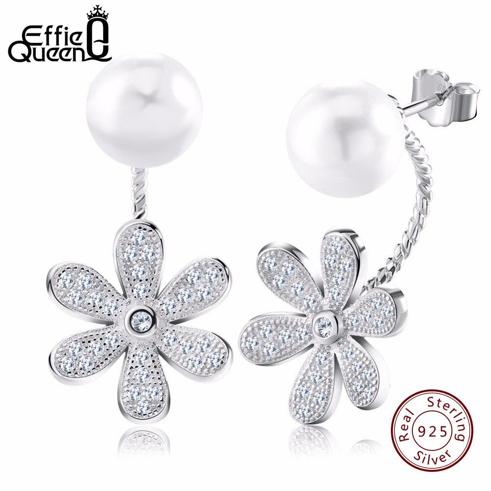 Effie Reine De Mode Véritable 925 En Argent Sterling Cristal Fleur Boucle D'oreille Bijoux Femme Imitation Perle Stud pour Femmes BE11