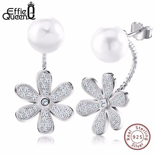 Effie Queen Fashion Genuine 925 Sterling Silver Crystal Flower Earring Jewelry Femme Imitation Pearl Stud Earring for Women BE11
