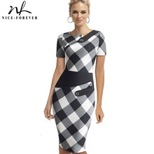 Elegant Patchwork Business Female vestidos with Button Work Office Bodycon Women Female Dress B527