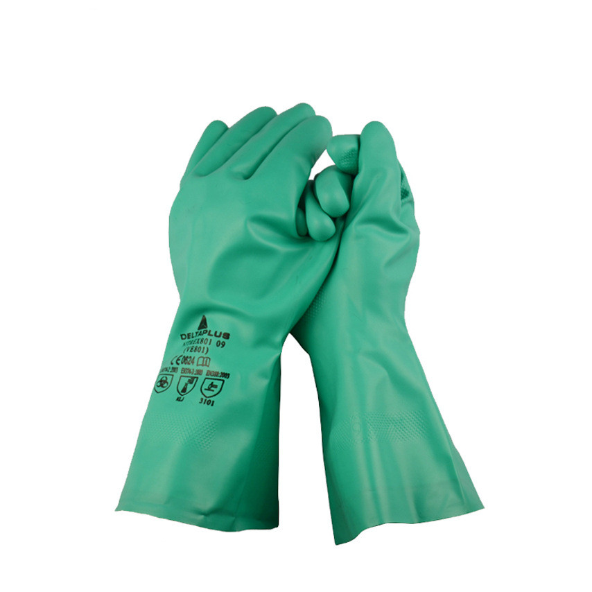 Butyl nitrile anti - chemical gloves Naisuan acid solvent painting operations 33cm straight flocking anti acid and alkali chemical corrosion fisheries agriculture latex rubber gloves labor supplies black
