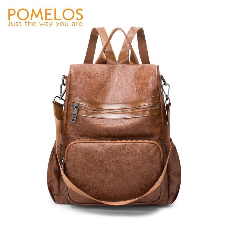 POMELOS Women Fashion Backpack Soft Leather Female Girls Back Pack Rucksack Ladies Shoulder Back Bag Travel Anti Theft Backpacks