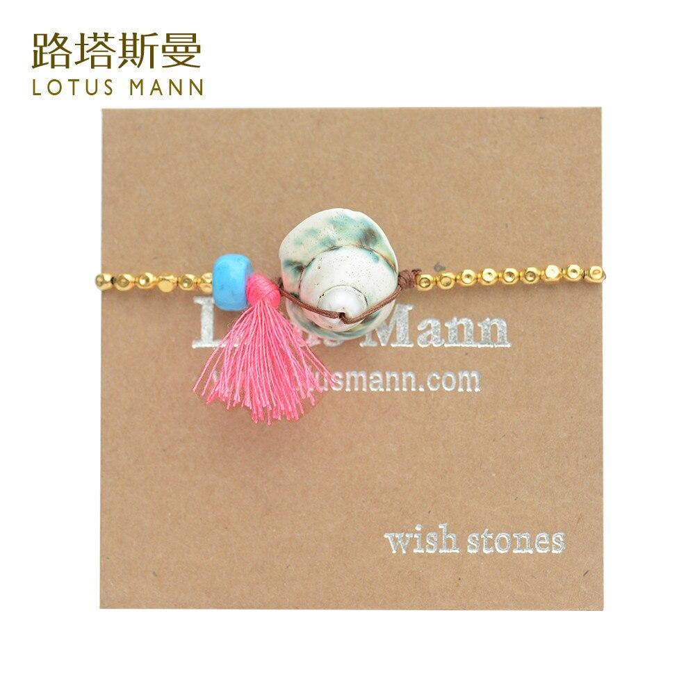 Lotus Mann Red tassel and green phosphor shells 18 k BaoJinZhu bracelet