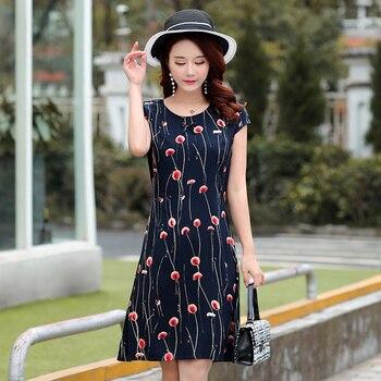 Ukraine Maxi Dress Hot Sale New Arrival O-neck Short Regular Natural Cotton Summer 2018 Ladies Short-sleeved Printed Slim Belt  2