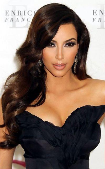 Kim Kardashian Side Part Loose Wavy Full Lace Wig Virgin Brazilian
