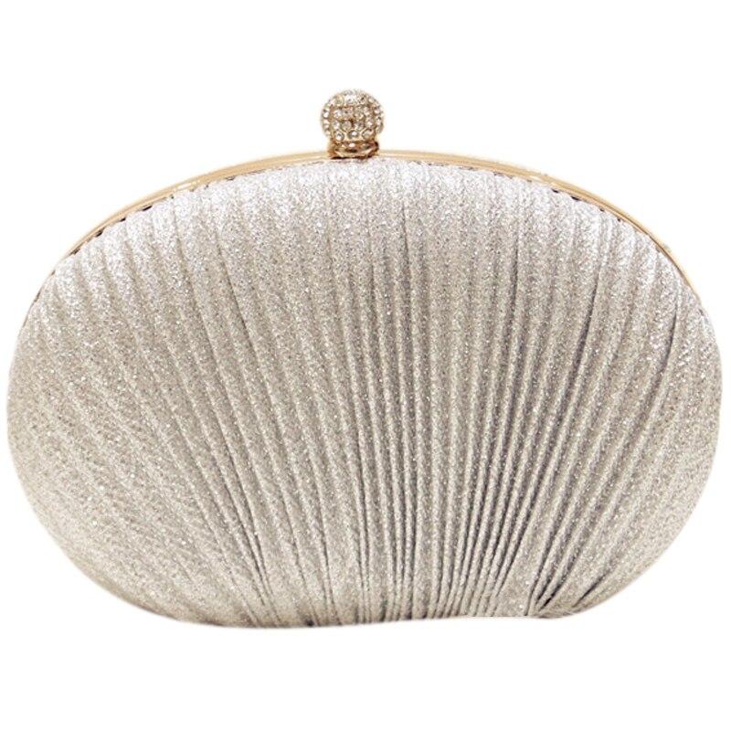 NEW Lady Diamond Evening Clutch Bag Women Wedding Shiny Handbags Bridal Pleated Purse Bags Chain Shoulder
