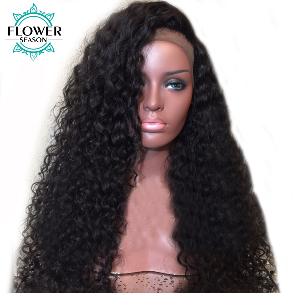 FlowerSeason Curly 5x4.5 Big Silk Base Full Lace Wig With Baby Hair Pre Plucked Hairline Brazilian Remy Human Hair Wigs