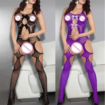 Przezroczysta siateczka przejrzyste misie body kobiety Sexy Hollow Out rajstopy kabaretki otwórz Crotch Bodystockings Sexy Hot bielizna erotyczna