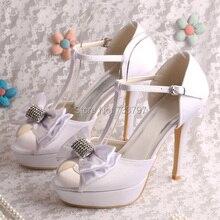 Wedopus Марка Свадебная Обувь Сандалии Белые Пятки с Платформы Обувь Женщины Лук