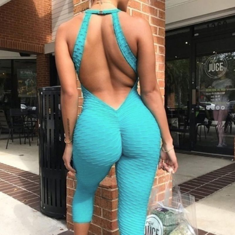 Womens Bodysuit Sexy Hollow Out Halter Backless Ruched Butt Lift Jumpsuit Sleeveless Sport Cross Bandage Playsuit Leggings