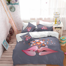 Valentine's Day Gift Bedding Set Double Lips Kiss Duvet Cover Set Heart Print Bedding Girls Romantic Bedclothes Pillowcase D25