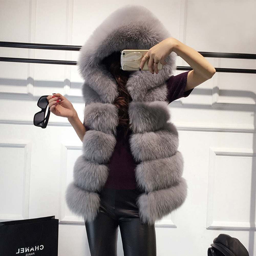 2018 Autumn Winter Faux Fur Gilet Women Furry Vest Female Sleeveless Faux Fur Vest Hooded Fur Vest Women Winter Coat Wisstt