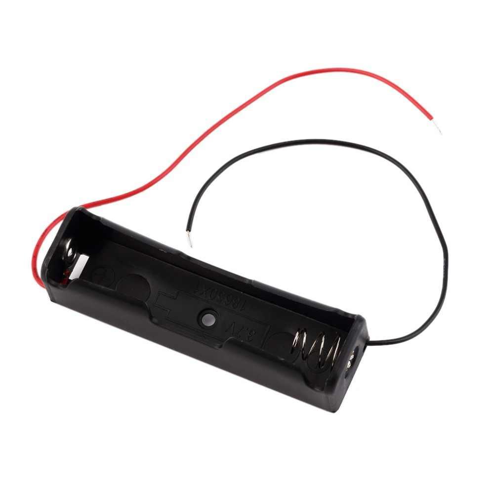 New Plastic 18650 Bateria Caixa De Armazenamento Titular com Wire Leads para 18650 Baterias 3.7 V Preto Atacado