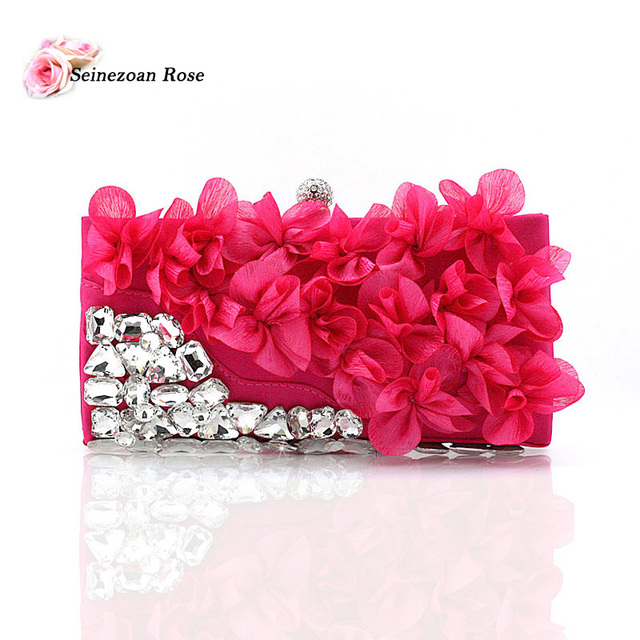 2016 Fashion Women's Silk Handbags Flowers Evening Party Clutch Bags Purses Ladies Satchel Messenger Crossbody Bags sac a main