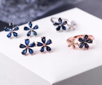 Simple and stylish sapphire suit, ring stud earrings, 925 silver, natural gemstones, flower design