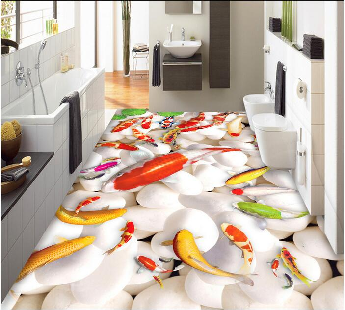 3 d flooring custom waterproof 3d pvc flooring Lotus leaf pebbles carp  water  3d bathroom flooring photo wallpaper for walls 3d 3 d flooring custom waterproof 3 d pvc flooring 3 d tree forest leaves 3d bathroom flooring photo wallpaper for walls 3d