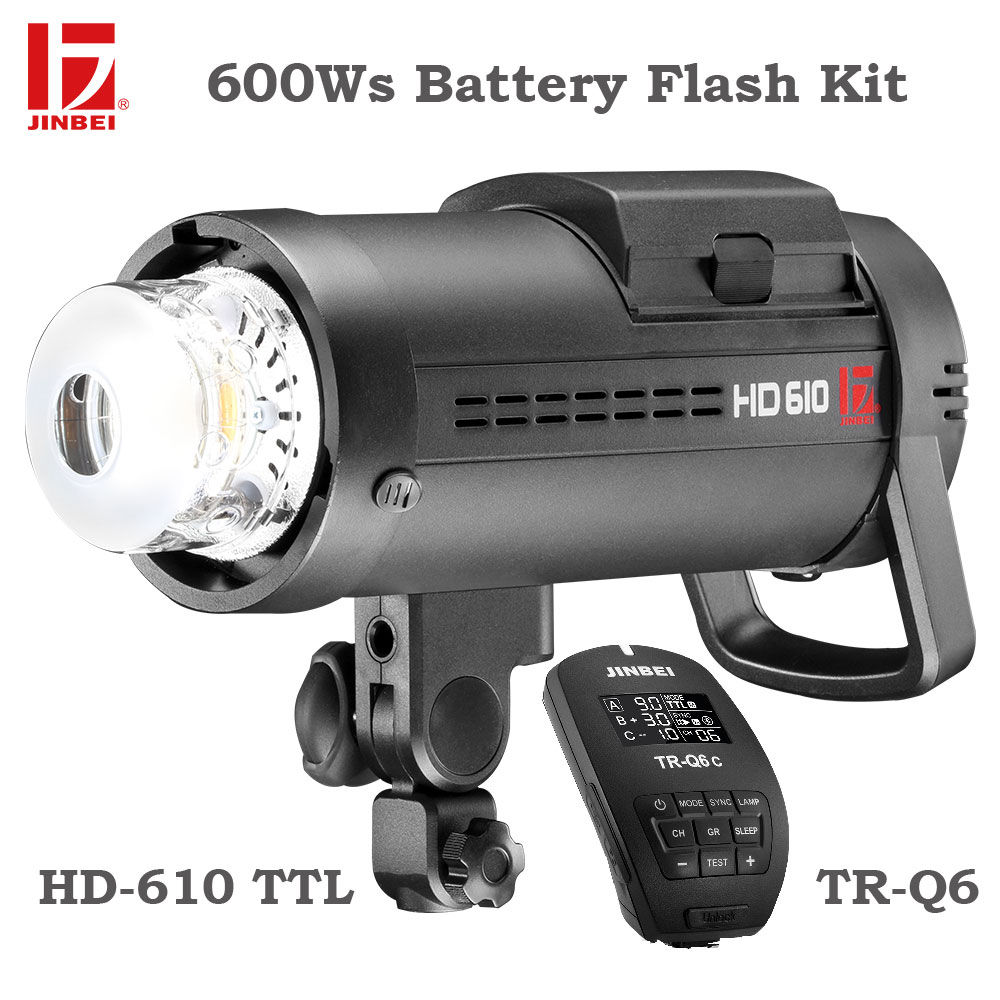 JINBEI HD-610 600 W al aire libre batería Kit de Flash de alta velocidad de sincronización TTL batería de luz estroboscópica de la fotografía con TR-Q6 gatillo