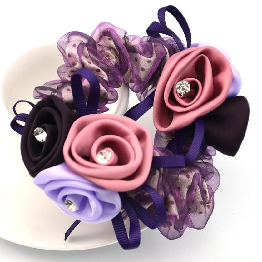 1Piece Hair Accessories for girl & women 3D rose Hair Rope Super Elastic Headbands Floral Ponytail Scrunchie high quality 1piece hair accessories for girl