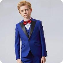 Королевский синий свадебный костюм с цветочным принтом для мальчиков