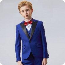 Royal Blue Flower Boys Wedding Suit 3PCS Party Custom Made Child Costume Homme Boy Spring Children Clothing Set Kids Suits
