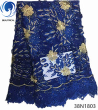 Beautifical blue lace fabric african french net fabrics high quality design flower style 5yards/piece 38N18