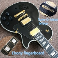 Best Price Top Quality Chinese factory OEM Black Color Electric Guitar EBONY fingerboard with gold color hardware guitar