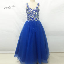 Vestidos infantis Royal Blue Junior Bridesmaid Dresses Ball Gown Flower  Girl Dress Crystal Lace up Child Brithday Prom Gowns d9f99e06c911