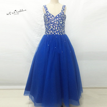 Vestidos infantis Royal Blue Junior Bridesmaid Dresses Ball Gown Flower Girl Dress Crystal Lace up Child Brithday Prom Gowns