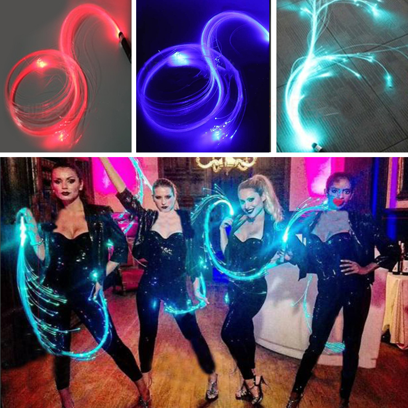 Quadruple LED Fiber Optic Flashlight Whip 360 Degree Twirling Nightclub Stage Multicolor Flashing Torch Leather Whip Props Gifts