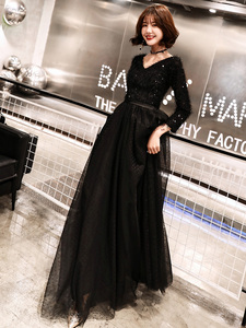 Image 2 - weiyin 2020 Long Formal Evening Dresses Black Womens Elegant V neck Long Sleeve Sequined Prom Evening Party Gowns WY1273