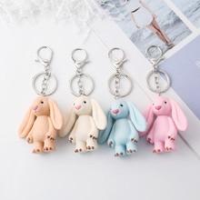 Cute Pluff Bunny Keychain Rex Genuine Rabbit Fur Key Chains For Women Bag Toys Doll Fluffy Pom Pom Lovely Pompom Keyring цена и фото