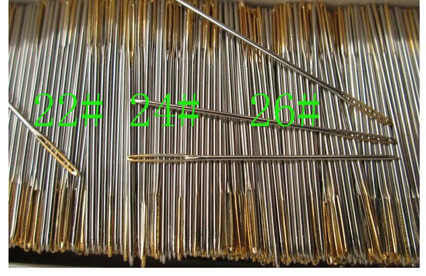 0 pz/lotto #26 #24 #22 #28 d'oro di coda Aghi per aida 9ct 11ct 14ct 18ct tessuto punto croce smussato ricamare ricamo