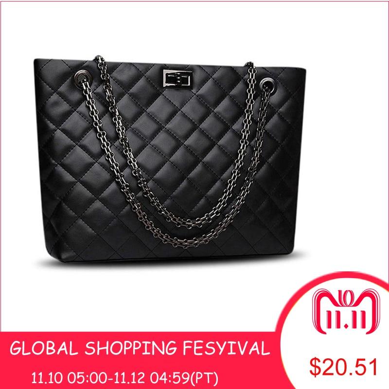 купить Brand Plaid Large Tote Bags for women 2018 Luxury Designer Female Chain Handbags PU Leather Messenger Beach Bag sac a main femme по цене 1223.96 рублей