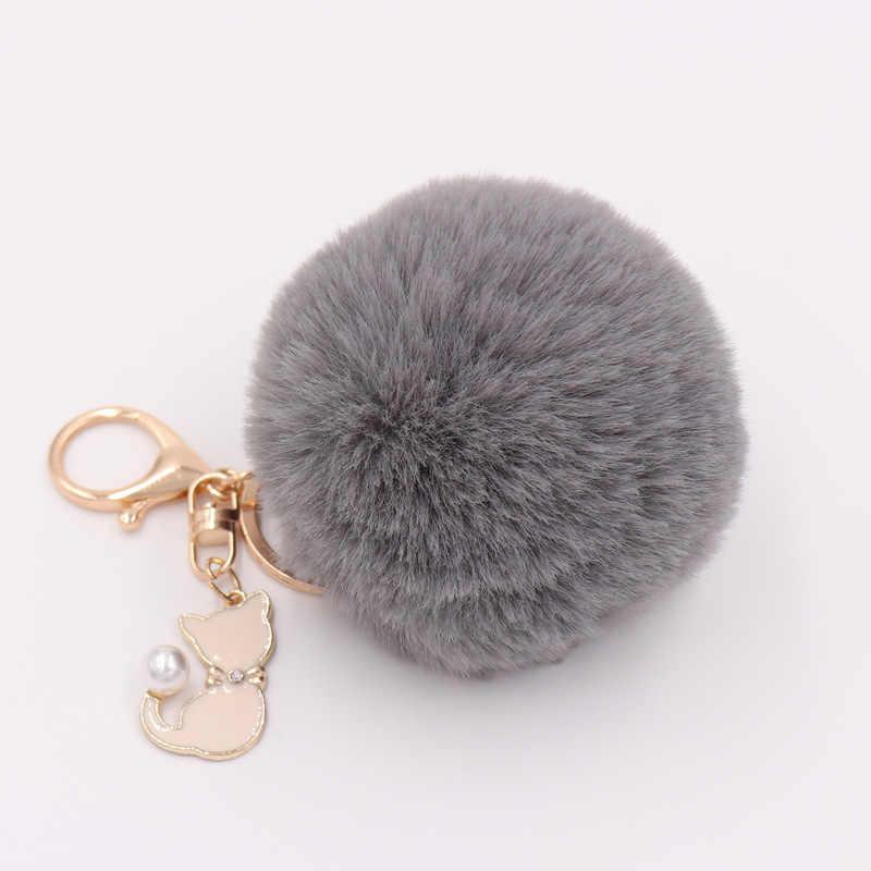Bonito gatinho pingente chaveiro pompom fofo coelho cabelo chaveiro feminino saco de carro titular presente para as mulheres chaveiro pop jóias d35