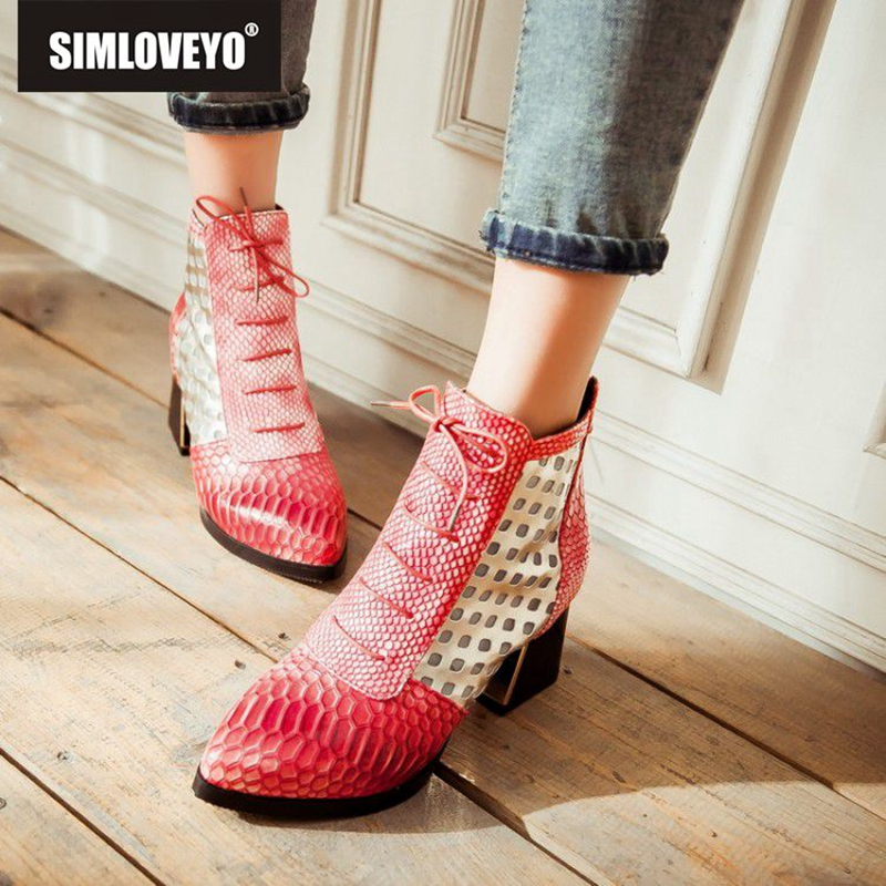 SIMLOVEYO Fashion Snake High Heels Short Boots Size 43 Zip Pointed Toe Winter Shoes Winter Ankle Boots European Style