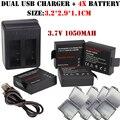 4x3.7 В 1050 мАч Аккумулятор + Двойной зарядное устройство Для sj4000 SJCAM SJ4000 sj 4000 SJ5000 6000 7000 8000 sj9000 M10 действий Камеры Bateria