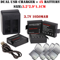 4x3.7v 1050mah SJ4000 Battery + Dual charger For SJCAM sj4000 sj 4000 SJ5000 6000 7000 8000 sj9000 M10 action Camera Bateria