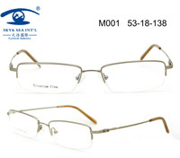 Free Shipping New Metal Material Monel With Memory Flexible Half Rim High Quality Mens Eyeglass Frames