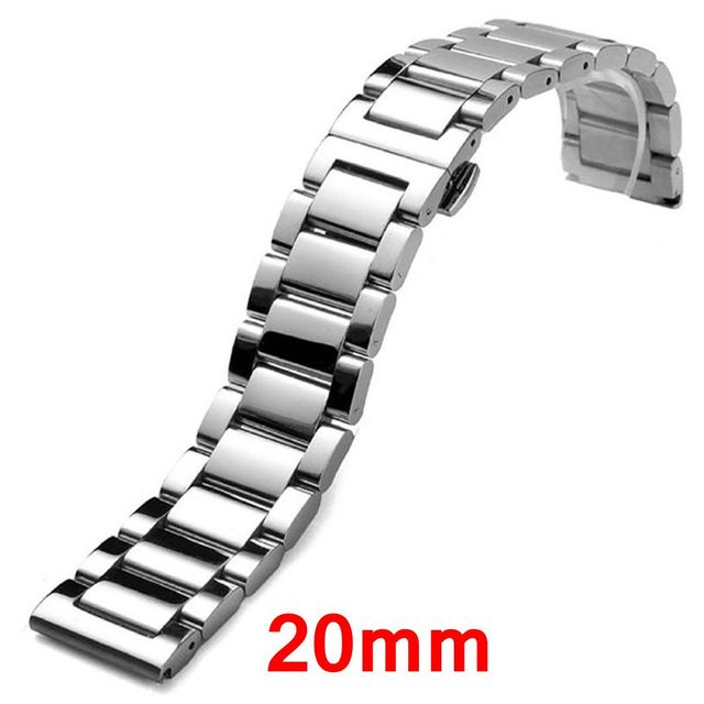 20mm de Acero Inoxidable Correa de La Venda de Plata Pulsera Links Sólidos Hebilla de Despliegue Con Botón de Las Mujeres de Los Hombres Reloj de Pulsera GD013820