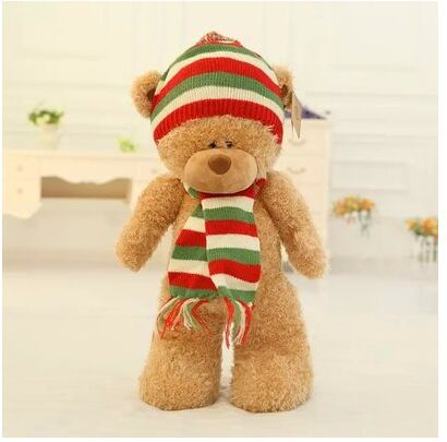 big lovely plush light brown teddy bear toy teddy bear with red hat and scraf doll gift about 50cm the lovely lying teddy bear doll red stripe cloth plush bear toy gift toy about 120cm