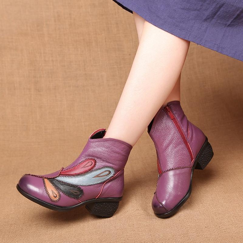 Botines Tamaño Cuero Invierno Para Mujer 40 De Moda Zapatos Suaves Mujeres Genuino Otoño Más 2018 Grande FExqwzU6T6