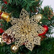 New Year Christmas Tree Decorations 5pcs 15cm Hollow Glitter Flower Wreath Rattan DIY Decoration Navidad. Q