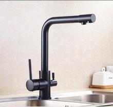Высококачественная латунь материал смеситель для кухни хром или черный ванной комнате раковина смеситель для кухни вода прямой питьевой кран