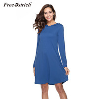 Free Ostrich Autumn Spring Blue Dress Women Long Sleeve Pockets Hooded Pullovers Loose Short Party Vestidos