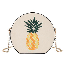 Round Circular Summer Beach Pineapple Straw Bag Shoulder Crossbody Bags for Women Rattan 2019 Handbag Female