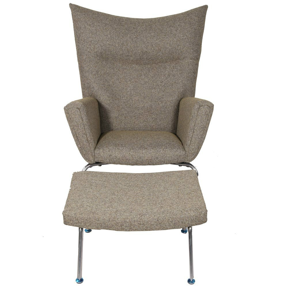 mcm hans j wegner style wing chair and ottoman pavilion stool