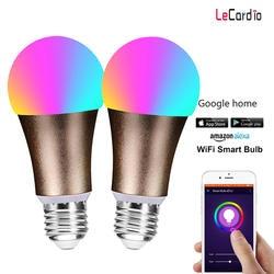 Горячая 2 pc подсветка умного Wi-Fi свет лампы RGBW затемнения Беспроводной E27 E26 B22 пробуждения фонари, совместимых с Alexa и Google домашний помощник